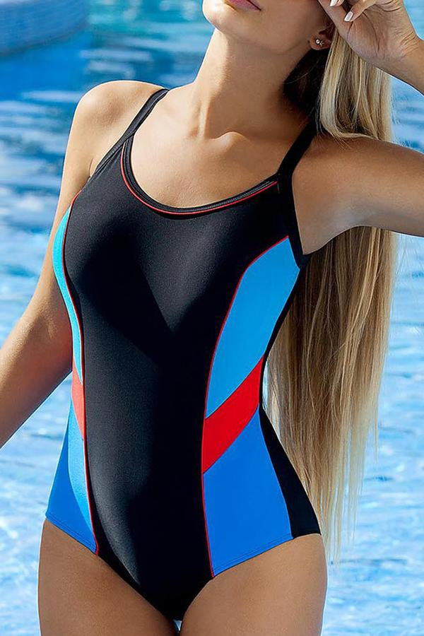 Sexy contrast color high waist one piece swimsuit
