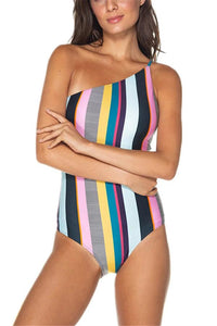 Sexy striped one-piece swimsuit