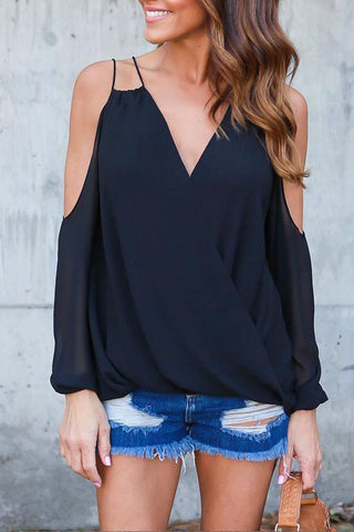 V Neck Backless Long Sleeve Blouses