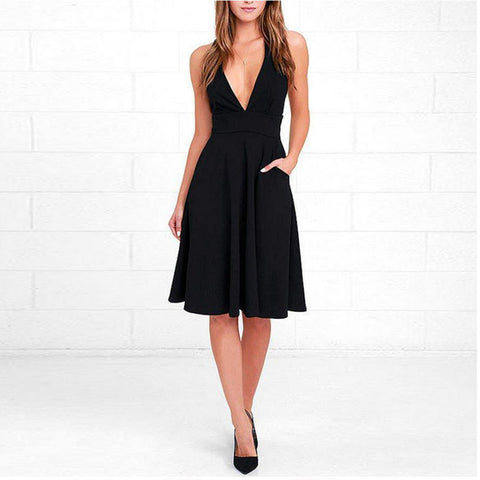 Deep V Neck Zipper Plain Skater Dresses