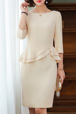 Round Neck Flounce Plain Bodycon Dress