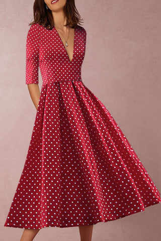V-Collar Sleeveless Dot Print Skater Dress