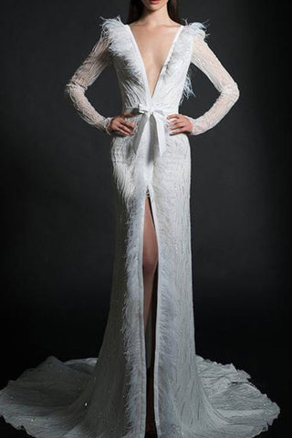 Sequined Feathers Tow Deep V Evening Dress