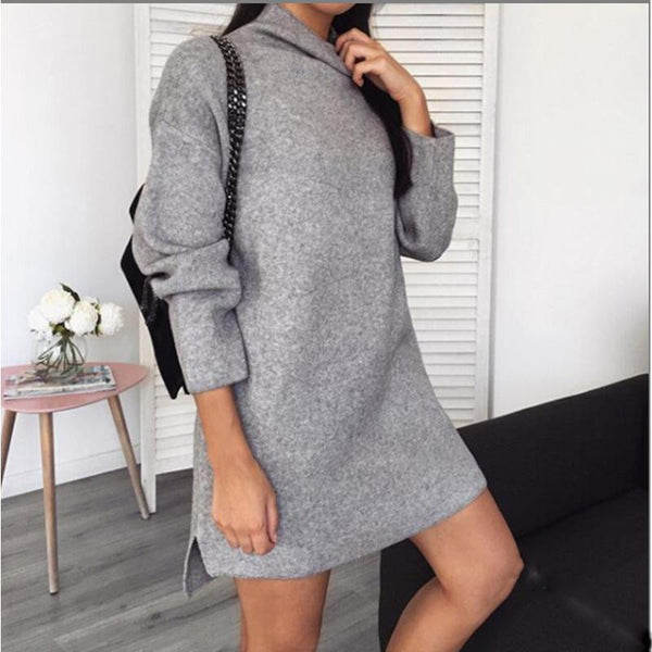 Net red style solid color long sleeve turtleneck dress