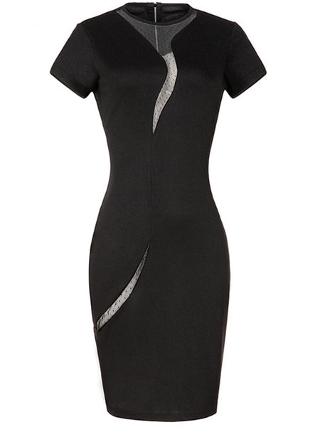 Modern Crew Neck  Zips  Hollow Out Bodycon Dress
