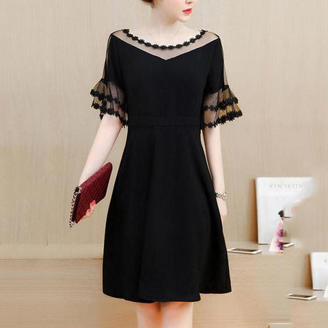 See-Through Plain Bell Sleeve Skater Dress In Black