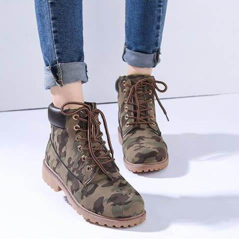 Lace Up Flat Ankle Martens Boots