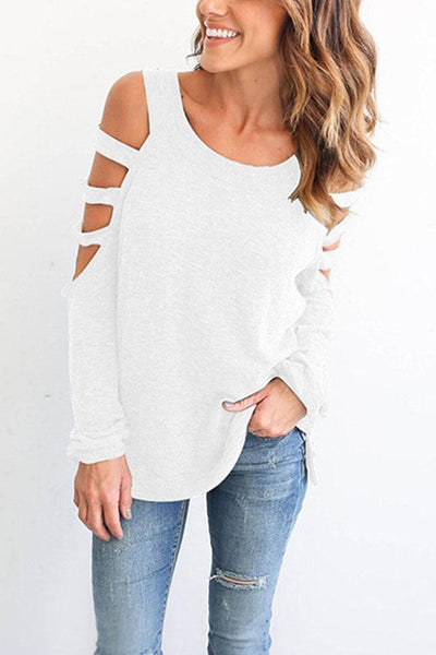 Round Neck  Hollow Out Plain Stylish T-Shirts