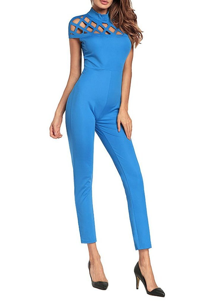 Short-Sleeved Hollow Sexy Jumpsuit