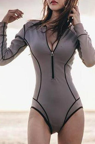 Long Sleeve Zipper One-Piece Swimsuit Surf Clothes