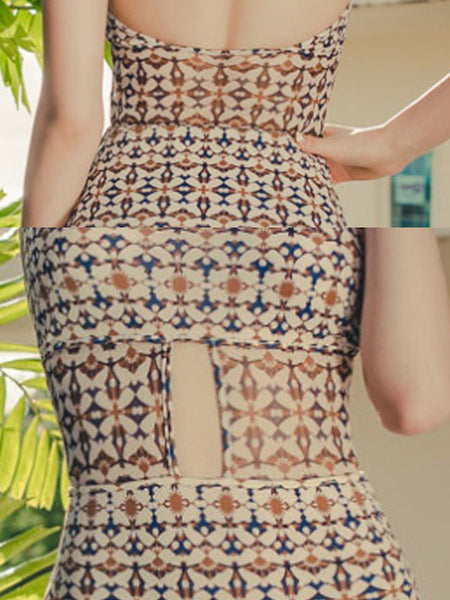 Tie Collar  Backless  Printed One Piece