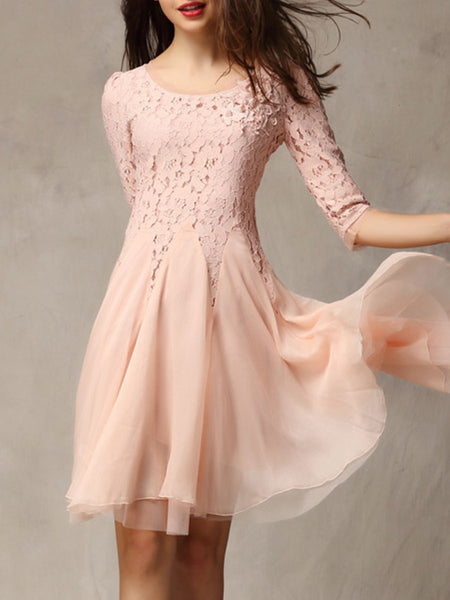 Round Neck  Decorative Lace Embossed Design Patchwork  Lace Skater Dress