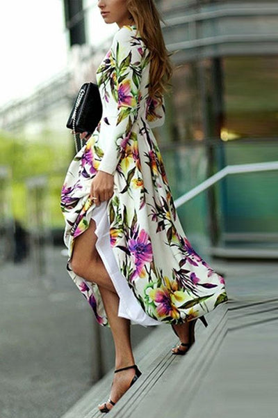 Long-Sleeved Printed Round Collar Expansion Vacation Dress