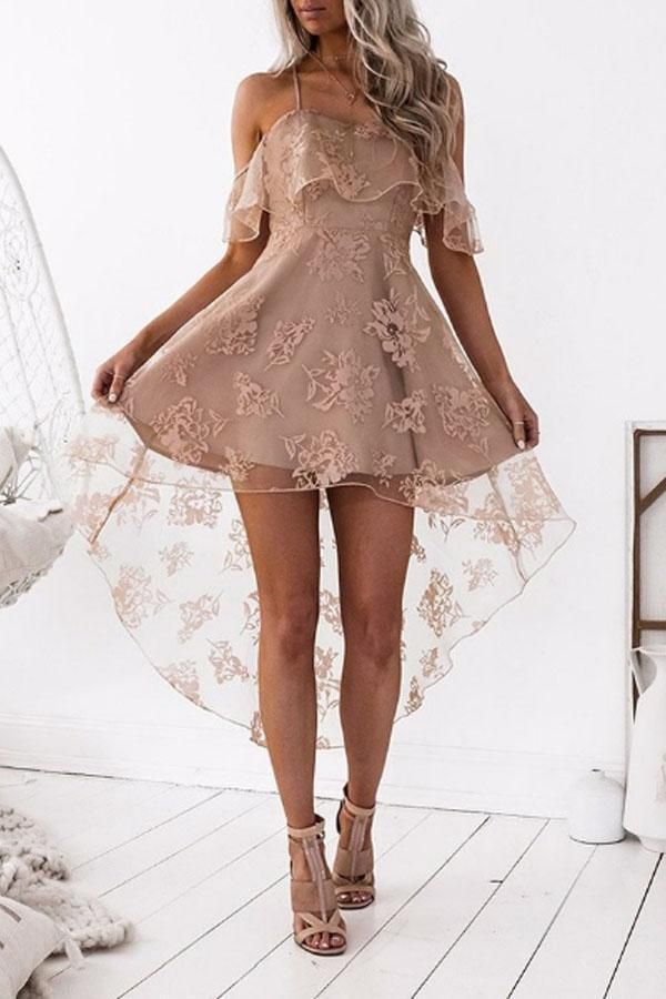 Spaghetti Strap  Asymmetric Hem  Tiered  Lace  Short Sleeve Mini Dresses
