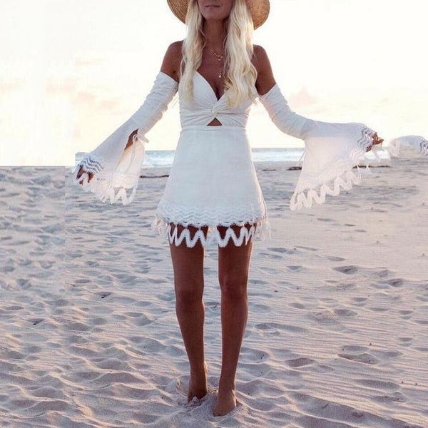 Sexy Elegant Off Shoulder Long Sleeves Mini Dress