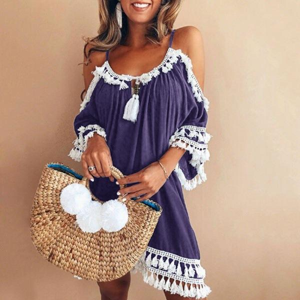 Bohemian Off Shoulder Vacation Dress