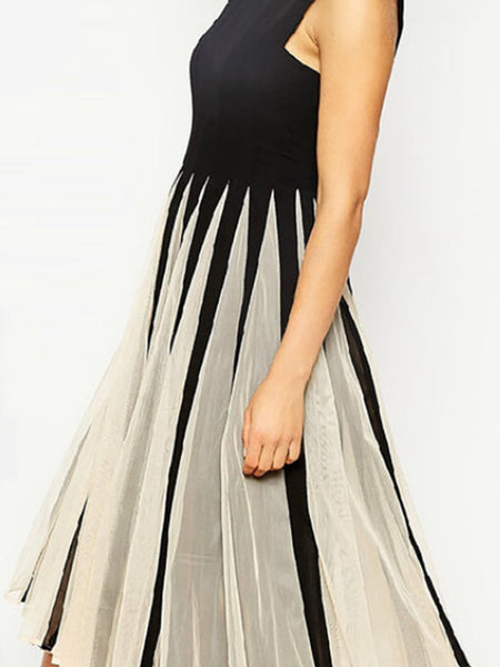 Round Neck Striped Sleeveless Midi Skater Dress