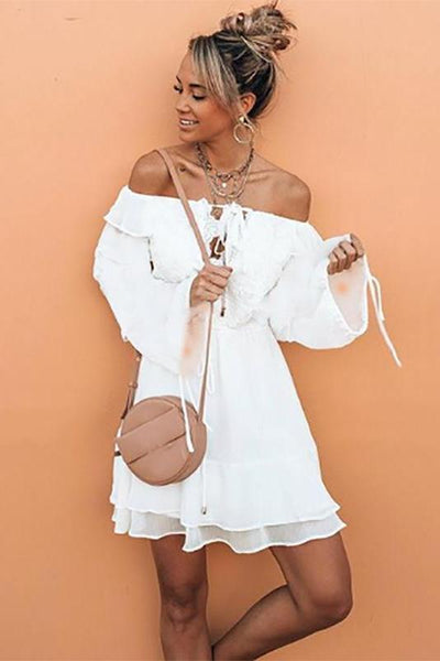 Off-The-Shoulder Chiffon Bohemian Vacation Dress