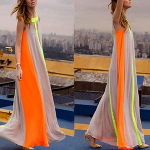 Casual Pure Color Round Collar Irregular Vacation Dress