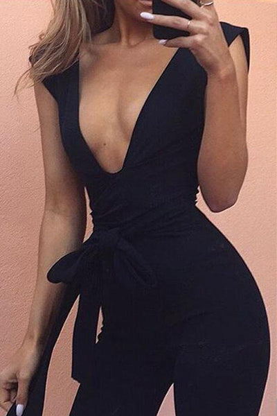 Sexy Casual Deep V Sleeveless Jumpsuit