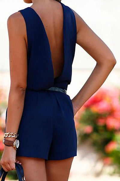 Stylish Hollow Back Plain Casual Romper