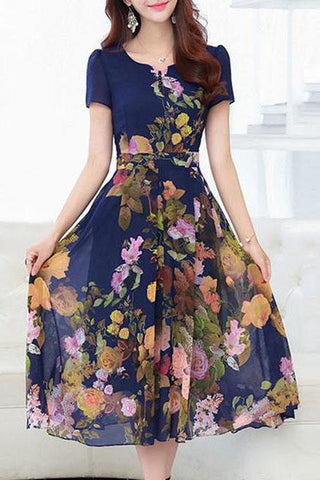 streettide Split Neck Floral Printed Midi Chiffon Short Sleeve Skater Dress