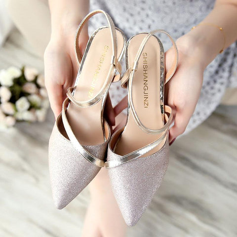 Elegant Sequins Pure Color Slim High Heel Sandals