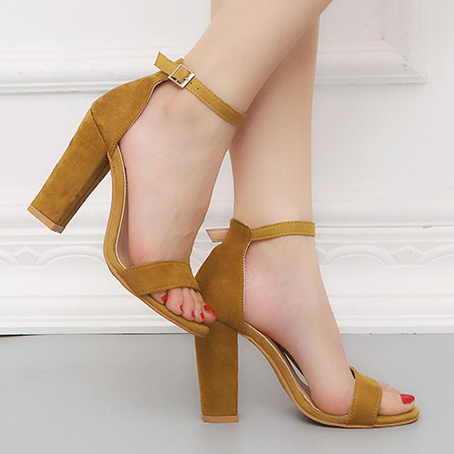 Plain  Chunky  High Heeled  Velvet  Ankle Strap  Peep Toe  Date Event Sandals