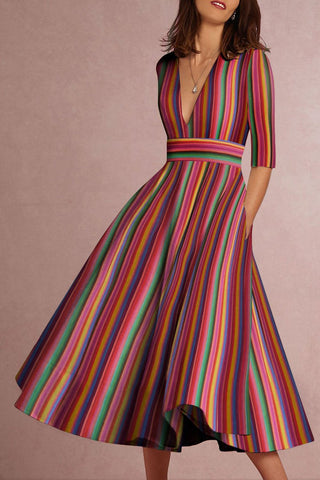 streettide Deep V-Neck Multicolor Striped Skater Dress