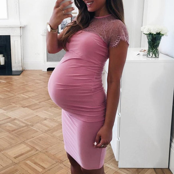 Maternity Lace Patchwork Bodycon Dress