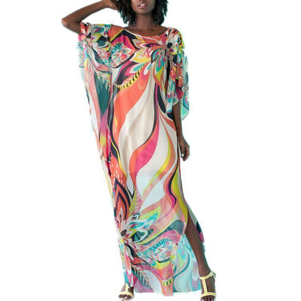 Folk-Custom Round Collar Printing Split Maxi Vacation Dress