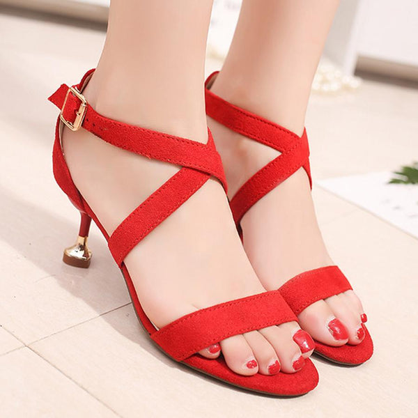 Embroidery Floral Plain  Stiletto  High Heeled  Velvet  Ankle Strap  Peep Toe  Date Office Sandals
