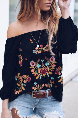 Off Shoulder  Embroidery  Blouses