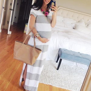 Maternity Wide Stripe Side Slit Maxi Dress