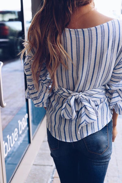 Stylish V Neck Striped Long Sleeves T-Shirts