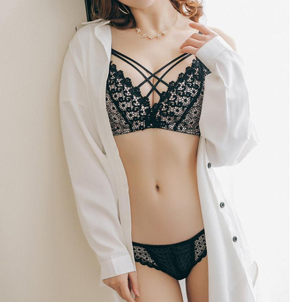 Summer Girl Embroidery Thin Cup One Piece Jacquard Bra