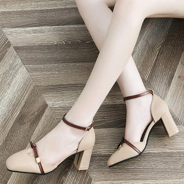 Color Block  Chunky  High Heeled  Ankle Strap  Square Toe  Date Office Pumps
