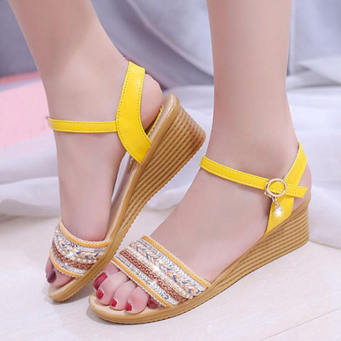 Bohemian  High Heeled  Peep Toe  Casual Date Wedges