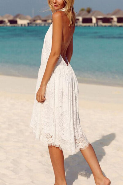 Sexy White Sleeveless Plain Maxi Dress