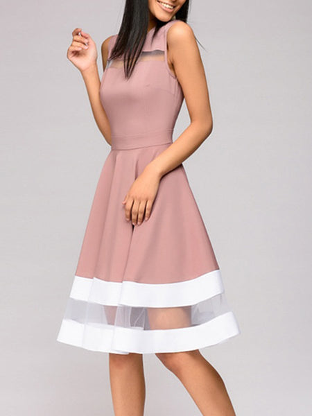 streettides Round Neck Patchwork Color Block Sleeveless Skater Dress