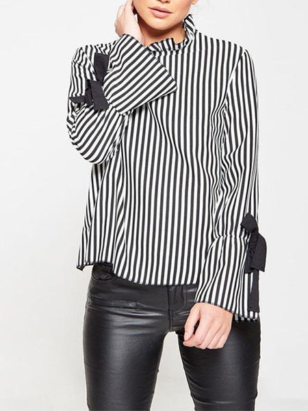 Striped Lace Bow Shirt