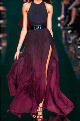 Sexy Purple Halter Neck Sleeveless Maxi Dress