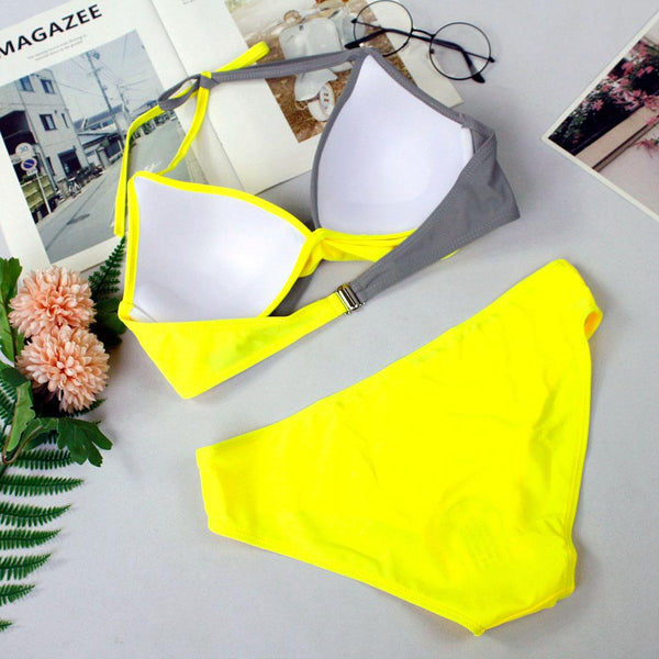 Sexy bikini hard pack color matching split swimsuit