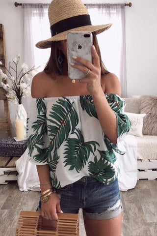 Off Shoulder  Printed  Blouses