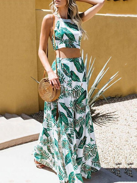 Sexy Wrapped Halter Strap Printed Split Two-Pieces Suits