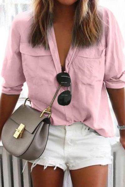 Solid Color Long Sleeve Button Lapels Casual Blouses