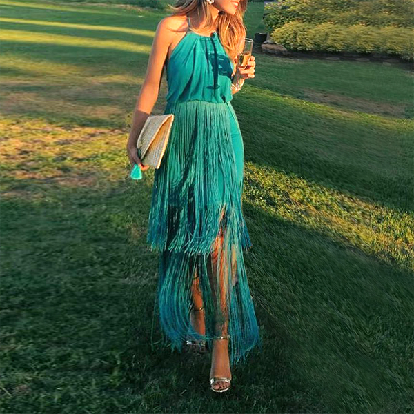Sexy Green Tassel Halter Sleeveless Maxi Dress