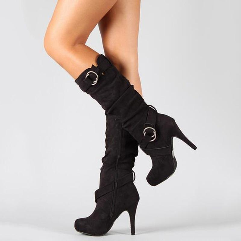 Frosted Belt Buckle Side Zipper High Heel Boots