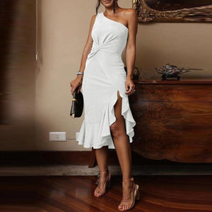 Sexy One Shoulder Irregular Ruffles Bodycon Dress