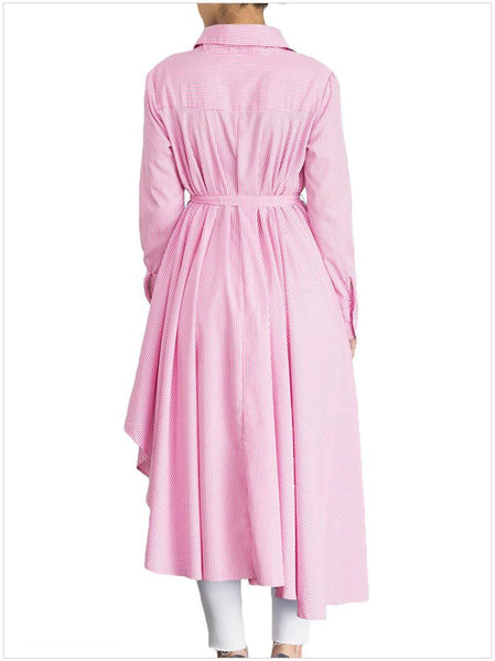 Women's Stand-Up Collar Single Breasted Long Sleeve Stripe Polyester Long Dress